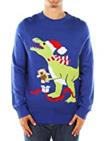 Men's Ugly Christmas Sweater - Blue T-Rex Sweater