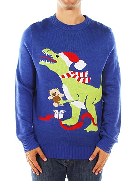 T Rex Christmas Sweater.Men S Ugly Christmas Sweater Blue T Rex Sweater