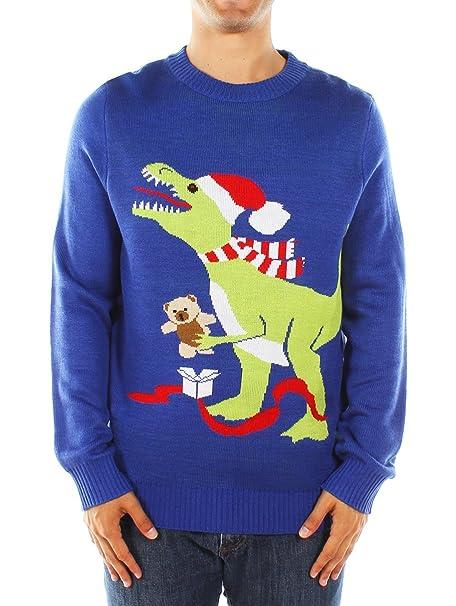 Dinosaur Christmas Sweater.Men S Ugly Christmas Sweater Blue T Rex Sweater
