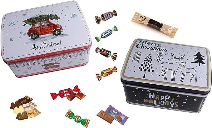 Boite de Noël en métal 40 pièces garnie de chocolat Noel Toblerone