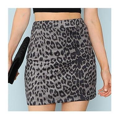 Gris Leopardo Sexy Mini Falda de Verano 2019 Autum Night out Mujer ...
