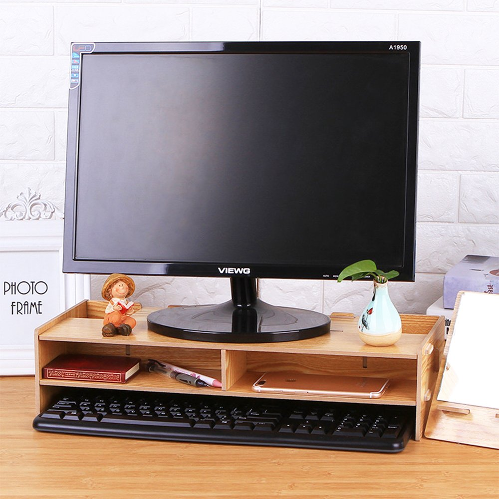 Signstek Wooden Monitor Stand Riser 20inch x 7.7inch x 4inch Home/Office Desktop Cabinet with Interlayer and Pen Slots for Display Wide Screen Stand Riser for Monitor/Laptop/TV/PrinterBLACK