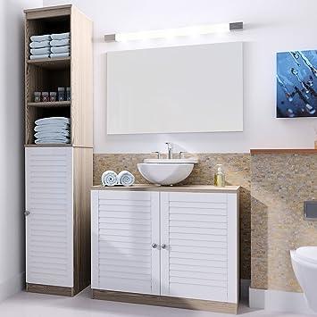 Badmöbel Set mit Lamellentür Badezimmermöbel Waschbeckenunterschrank  Unterschrank | braun/weiß | Magnetverschluss | Materialstärke: 15mm