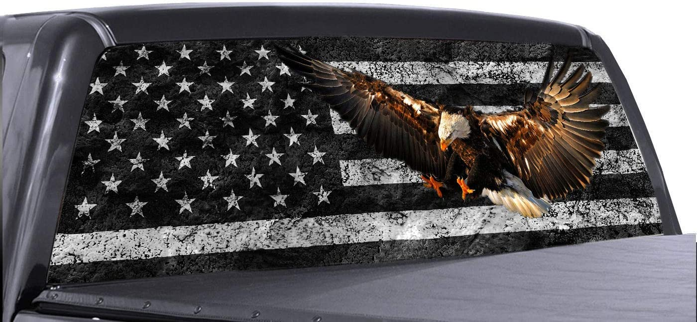 Eagle American Flag Window Decal for Truck Removable Easy Peel and Stick Tint Perforated Vinyl Graphic Wrap Sticker P/&L ART