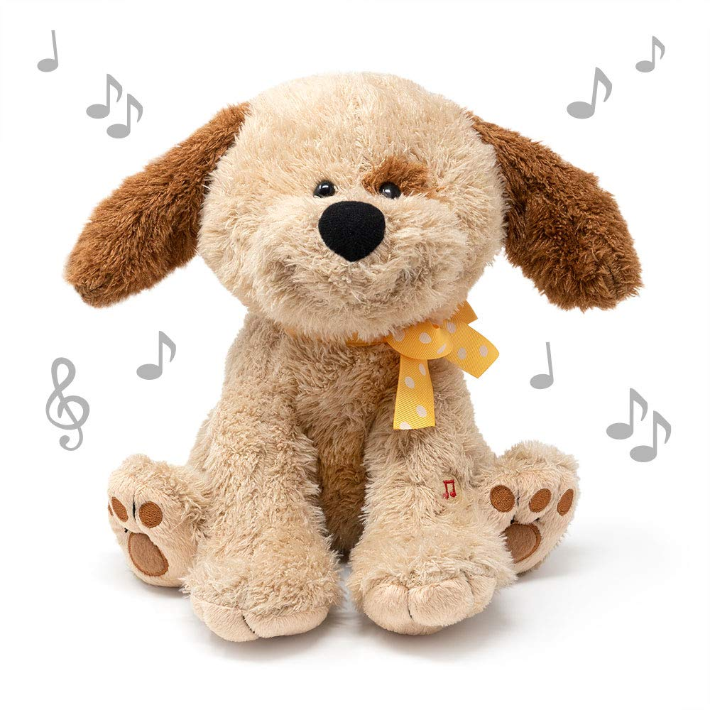 Cuddle Barn | Dot 10'' Puppy Animated Stuffed Animal Plush Toy | Flappy Ear Movement and Head Swaying to | How Much is That Doggie in The Window Song by Cuddle Barn