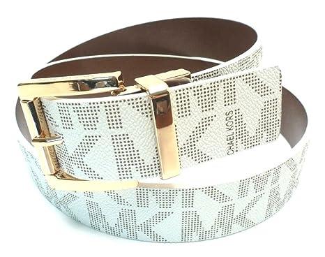 e6cc2efd8b43 Image Unavailable. Image not available for. Color  Michael Kors Mk  Signature Monogram Logo Reversible Gold Buckle Belt Reversible Vanilla White  Brown Size