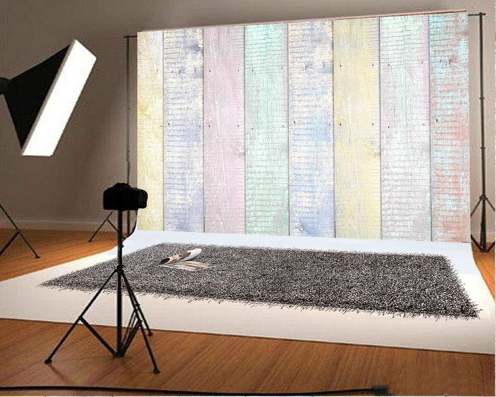 5フィート (幅) x4.2フィート (高さ) (150x130cm) マルチカラー 木製背景 写真 ベビーショー 写真ブース 小道具 イースター 写真 背景   B07MVBTH85