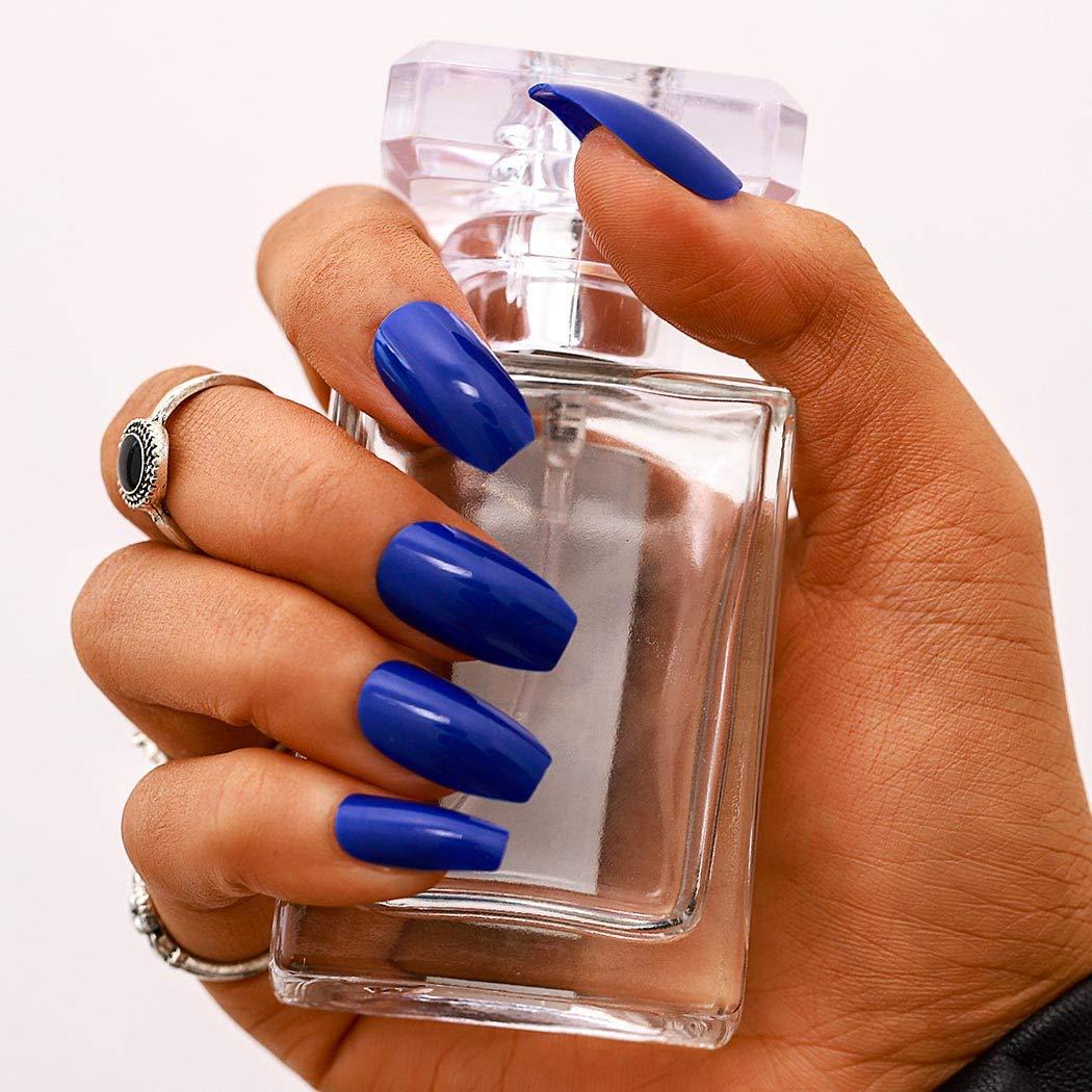 Amazon Com Campsis Glossy Fake Nails Acrylic Coffin False Nail Full Cover Medium Nails Punk Clip On Nail For Women And Girls 24 Pcs Royal Blue Beauty