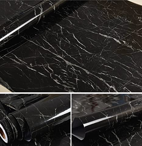 Bestevers Black Marble Self Adhesive Gloss Vinyl Wrap Film Kitchen
