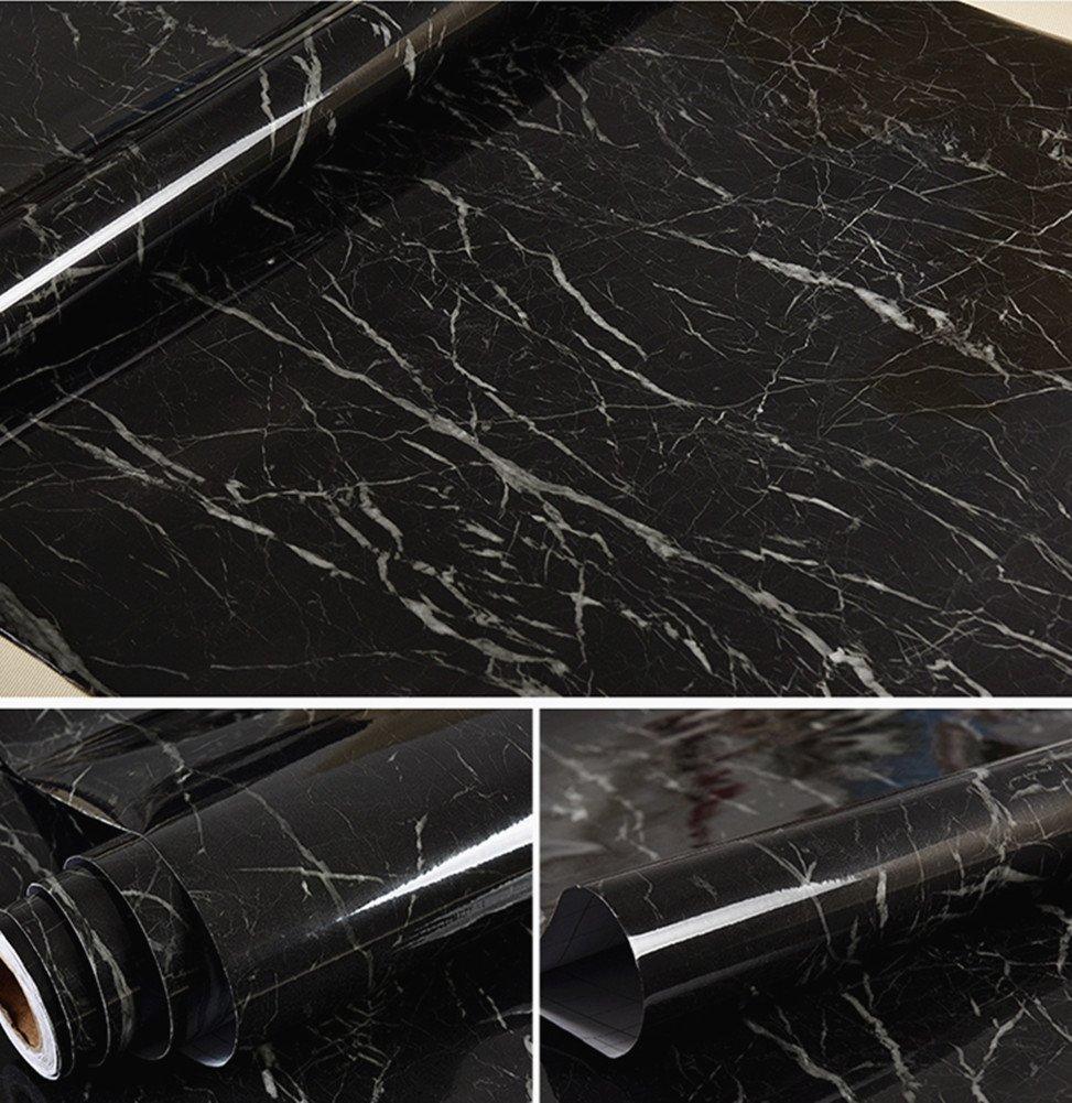 Bestevers Black Marble Self Adhesive Gloss Vinyl Wrap Film Kitchen Countertop Peel Stick Wallpaper Decal 24''x79'' (Black) 45Y75RSURSYFGHFH RTREYUTZFFGH