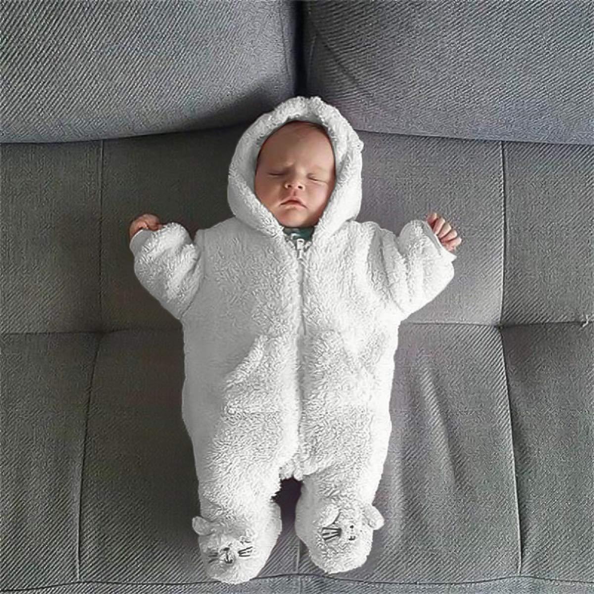 2eb43eb01f Amazon.com  Unmega Baby Girl Boy Snowsuit Long Sleeve Romper Fleece Hoodie  Jumpsuit  Clothing