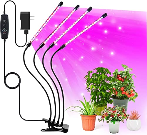 Grow Light for Indoor Plants, Upgraded 84 LED 4 Head Full Spectrum Plant Grow Lights, Auto ON Off 3 9 12 H Timer 3 Switch Modes, 10 Dimmable Levels Plant Light for Indoor Succulent Plants Growth