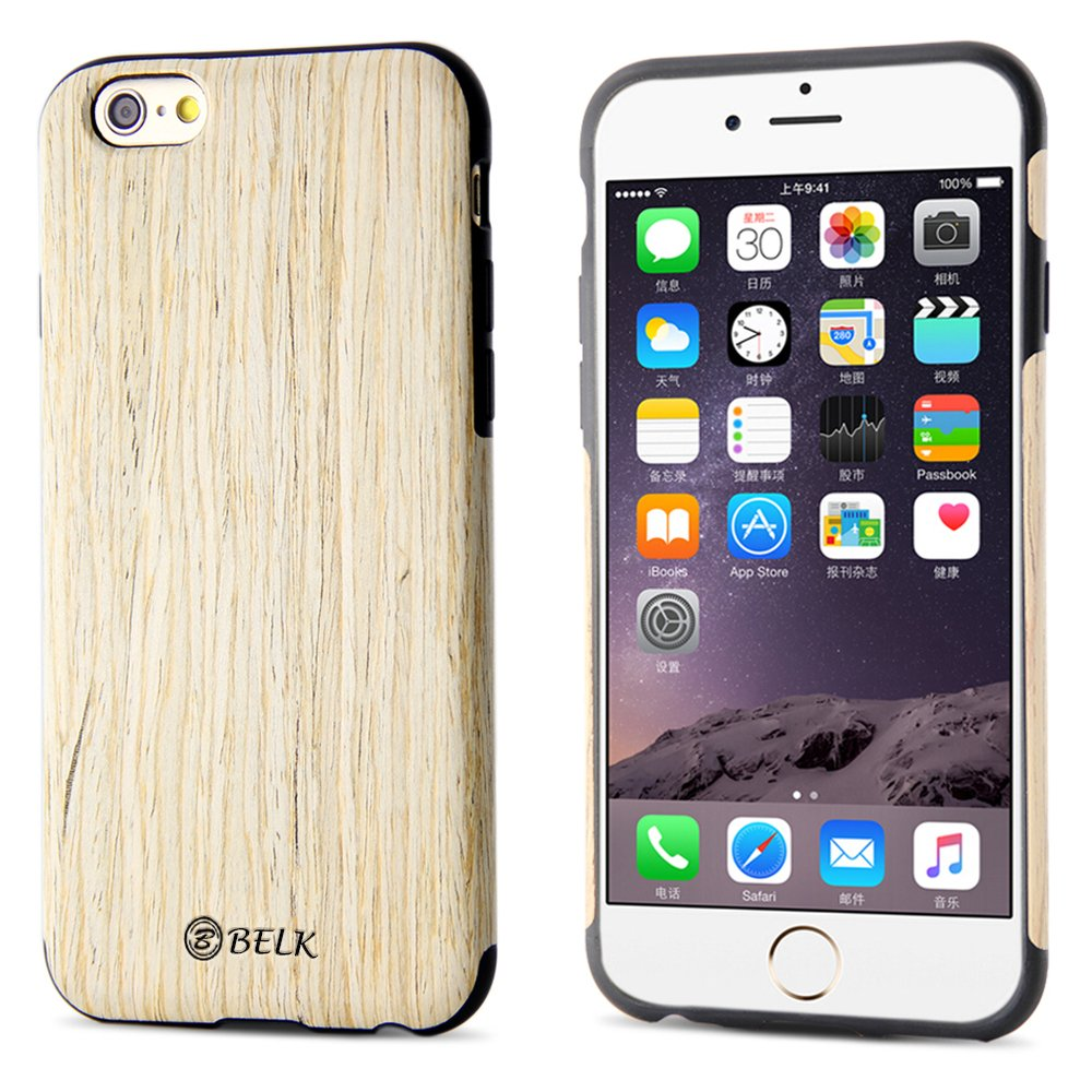 promo code be1c3 356e7 iPhone 6S Case, iPhone 6 Case, B BELK [Air To Beat] [Slim Matte] Non Slip  Wood Tactile Extra Grip Rubber Bumper [Extremely Light] Soft Wood Back ...