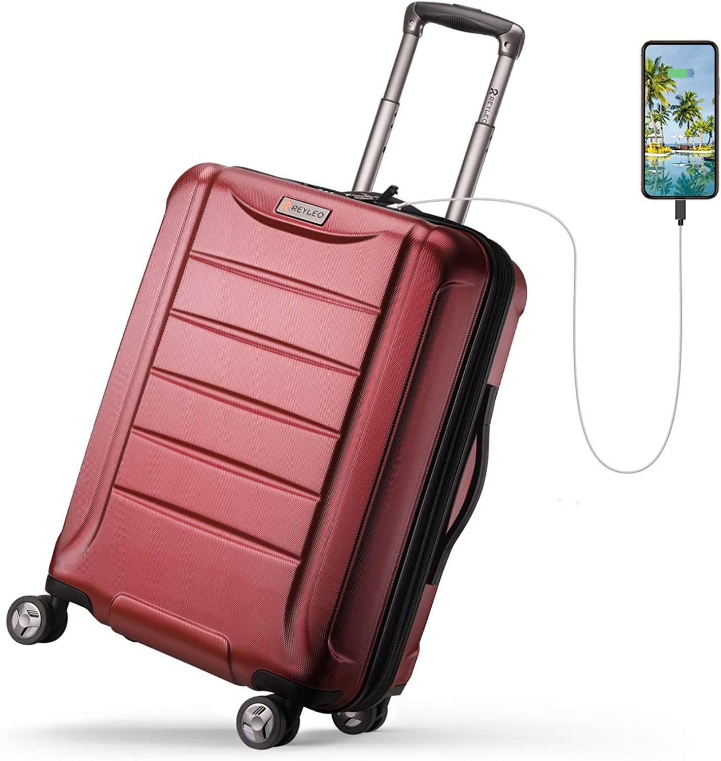REYLEO Expandable Luggage 21 Inch PC Carry on Luggage Travel Suitcase with USB Charging Port Built-in TSA Lock 8 Silent Spinner Wheels Side Handle