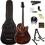 Ovation Celebrity Elite Plus Quilted Maple Top Acoustic-Electric Guitar Kit with ChromaCast Accessories, Tiger Eye