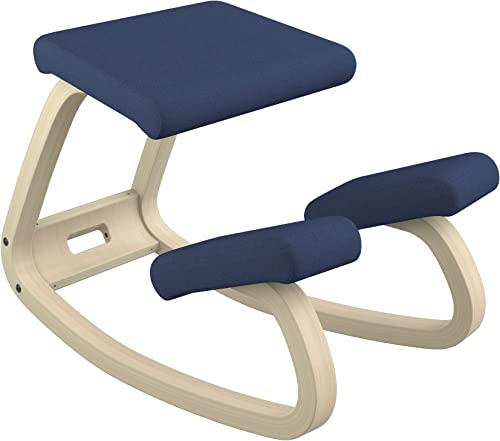 Varier Variable Balans Original Kneeling Chair Designed by Peter Opsvik Dark Blue Revive Fabric with Natural Ash Base