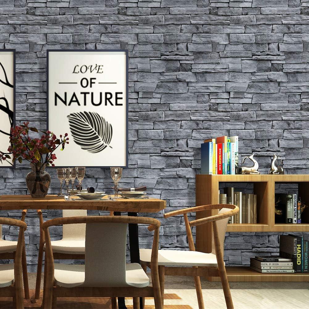 Papel pintado de piedra 3D autoadhesivo para pared 0,45 x 6 m dise/ño industrial HOMOH