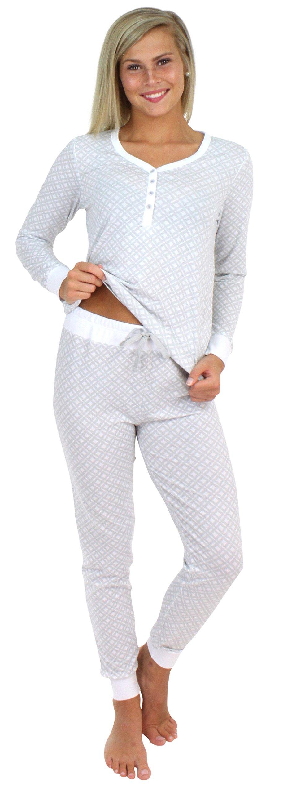 Sleepyheads Women's Sleepwear Knit Long Sleeve Henley and Pant Pajamas PJ Set-Sweet Dreams Grey (SH1150-4090-XL)