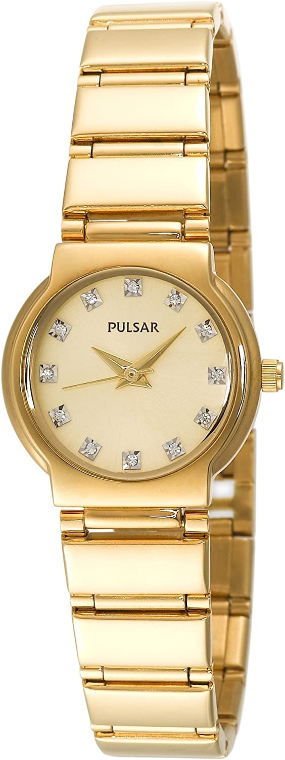 Pulsar Women s PTC426 Crystal Accented Gold-Tone Stainless Steel Watch