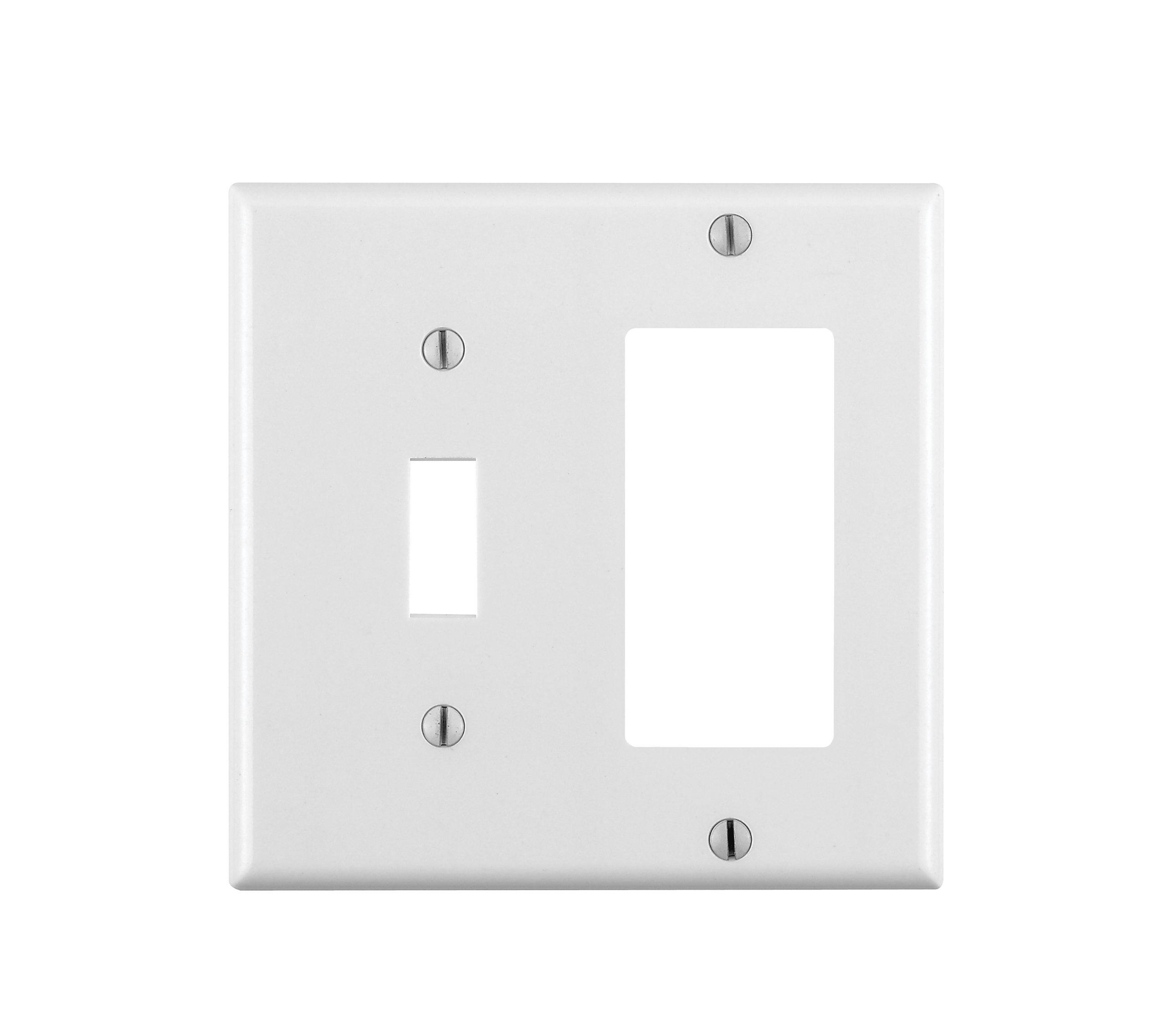 Leviton 80405-W 2-Gang 1-Toggle 1-Decora/GFCI Combination Wallplate, Standard Size, Thermoset, Device Mount, White, 1 Pack