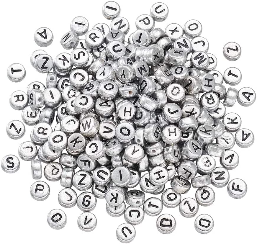 "6mm Silver Metallic Alphabet Beads Black Letter /""B/"" 100pc"
