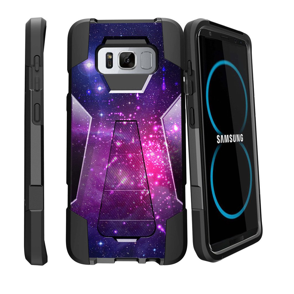 MINITURTLE Case Compatible w/ Samsung Galaxy S8 Plus Case| SM-G955| S8 Plus LG Case Case [SHOCK FUSION] High Impact Hybrid Dual Layer Case w/ Stand - Heavenly Stars