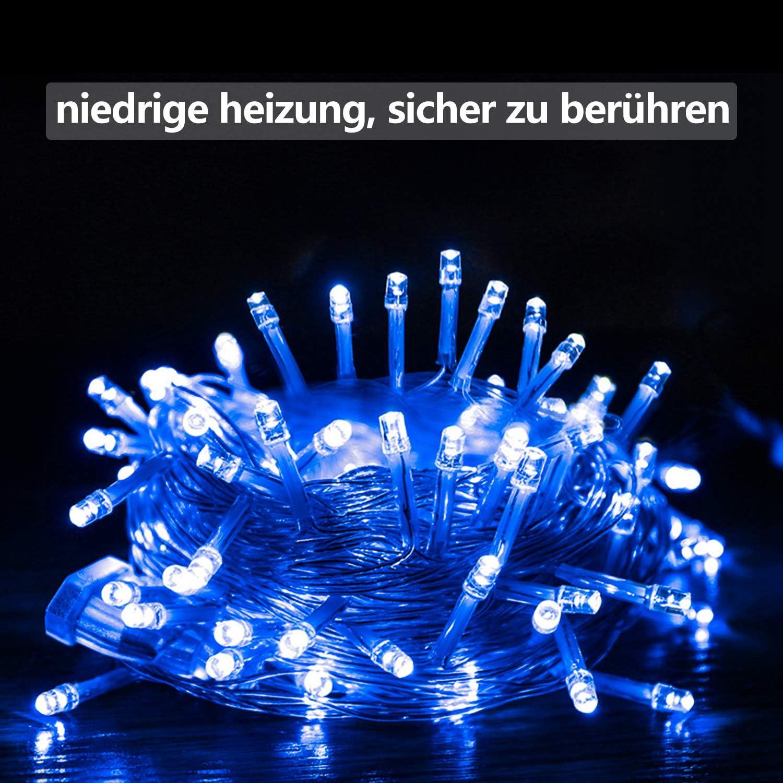 Kinderzimmer,Party Weihnachtslichterkette Geburtstag Hochzeit Wasserdicht Balkon VINGO 10M 100 LED Lichterkette Innen und Au/ßen Garten 8 Modi Deko Beleuchtung f/ür Weihnachten