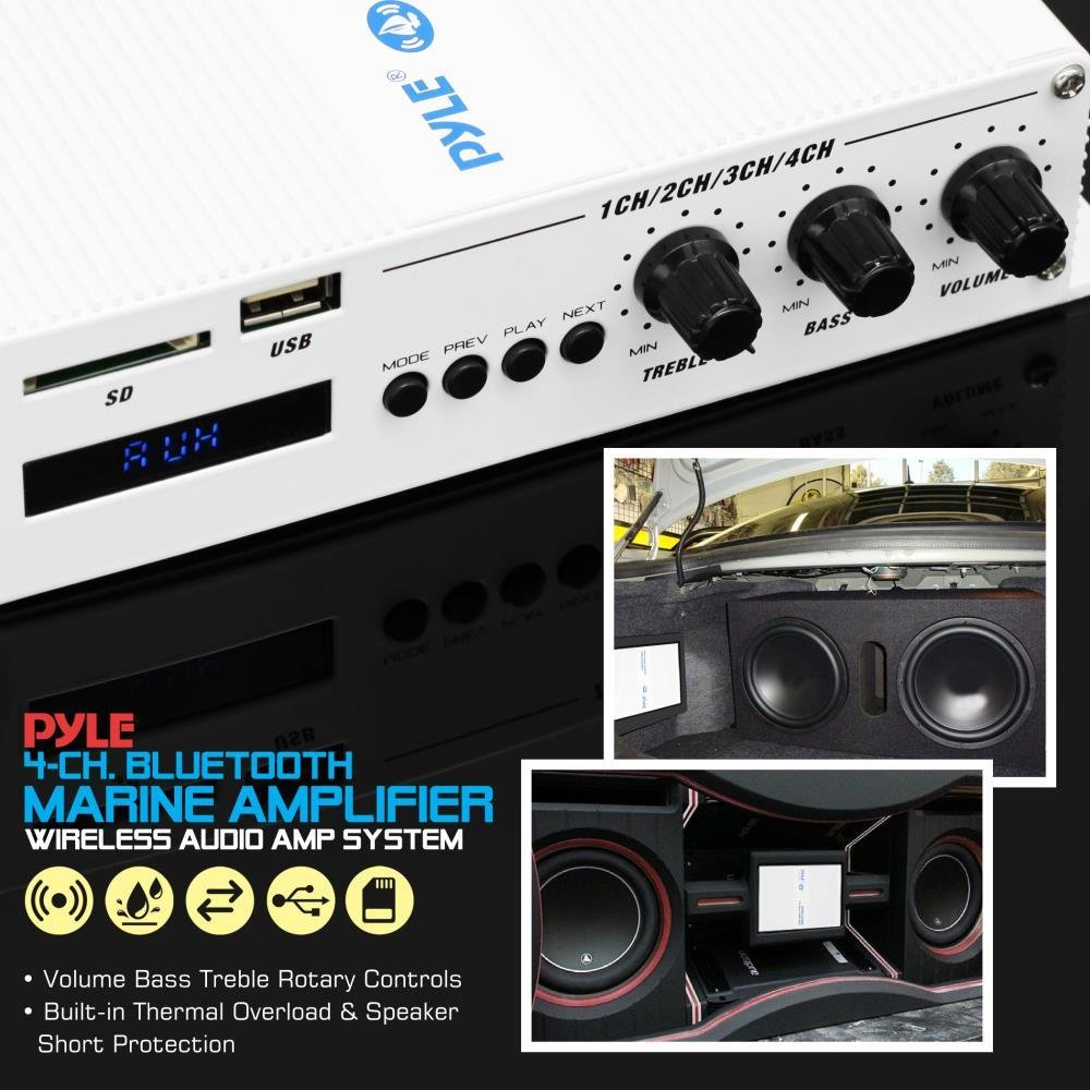 Pyle Home Marine Car Amplifier - 4-Channel Bridgeable Compact 400 Watt RMS 4 OHM Full Range Monoblock Stereo & Waterproof - Wireless Bluetooth Receiver Audio Speaker w/LCD Digital Screen (PFMRA450BW)