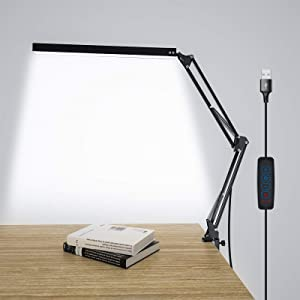 LED Desk Lamp with Clamp, Architect Modern 3 Color Modes Swing Arm Lamp Desk Light, Metal Dimmable Table Light with Memory Function for Task Study, Reading, Working, Home and Office Lamp 10W