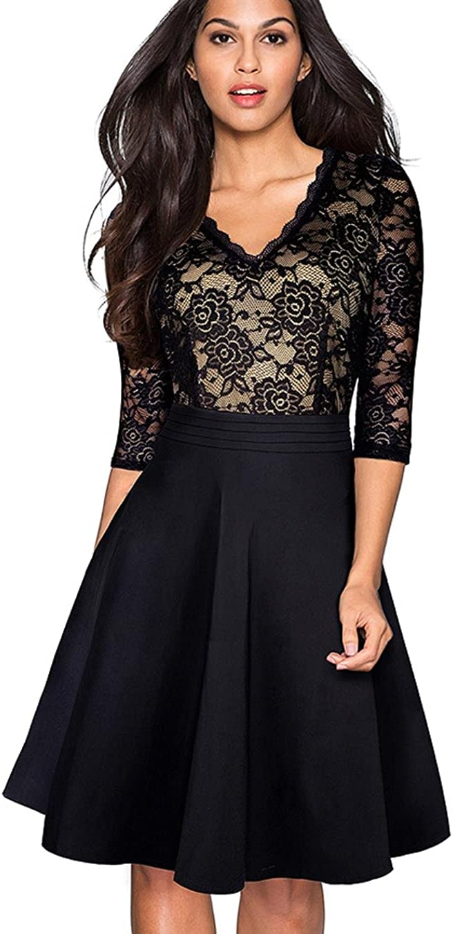 NJSBPG Vintage Flower Elegant Lace Ruffle Through Sleeve Women Flare Dress