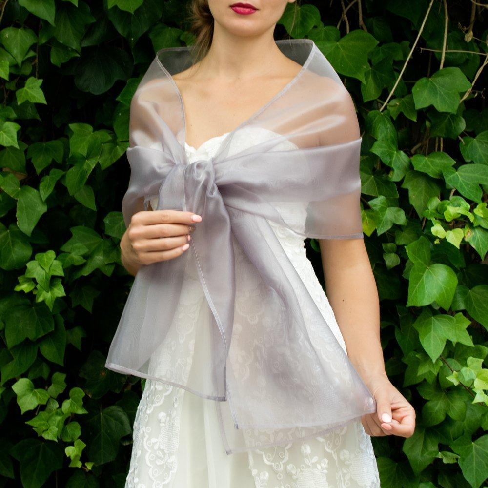 Châle Écharpe Étole Organza Femme Mariage sur Robe de Soirée Mariée gris argent