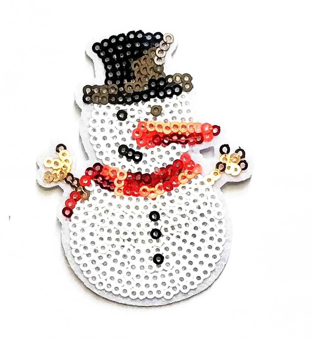 66239d851f7 Application Snowman Patch Sequins Christmas Snowman Cartoon kid Patch Sew  Iron on Embroidered Applique Symbol Jacket T-shirt Badge Costume for  Birthday Gift