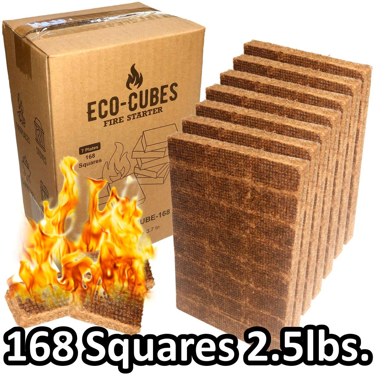 EasyGo Product Eco Cubes - Fire Starter Squares - Great Lighter for Chimney, Charcoal Grill, Fireplace, Campfire, Pellet Stove, Wood Stove (Qty168) by EasyGoProdcuts