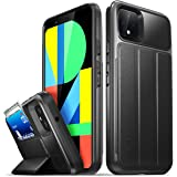 Vena Pixel 4 XL Wallet Case, [vCommute] [Military Grade Drop Protection] Flip Leather Cover Card Slot Holder Compatible with Pixel 4 XL (Space Gray/Black)