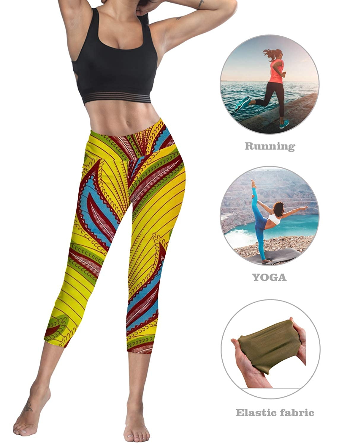SODIKA Compression Yoga Pants Stretch Workout Leggings High Waist Tummy Control Abstract Leaves