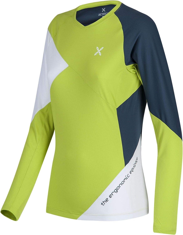 MONTURA Rock Maglia Woman Maglia Maniche Lunghe Sportiva attivit/à Outdoor Verde Lime//Blu Cenere