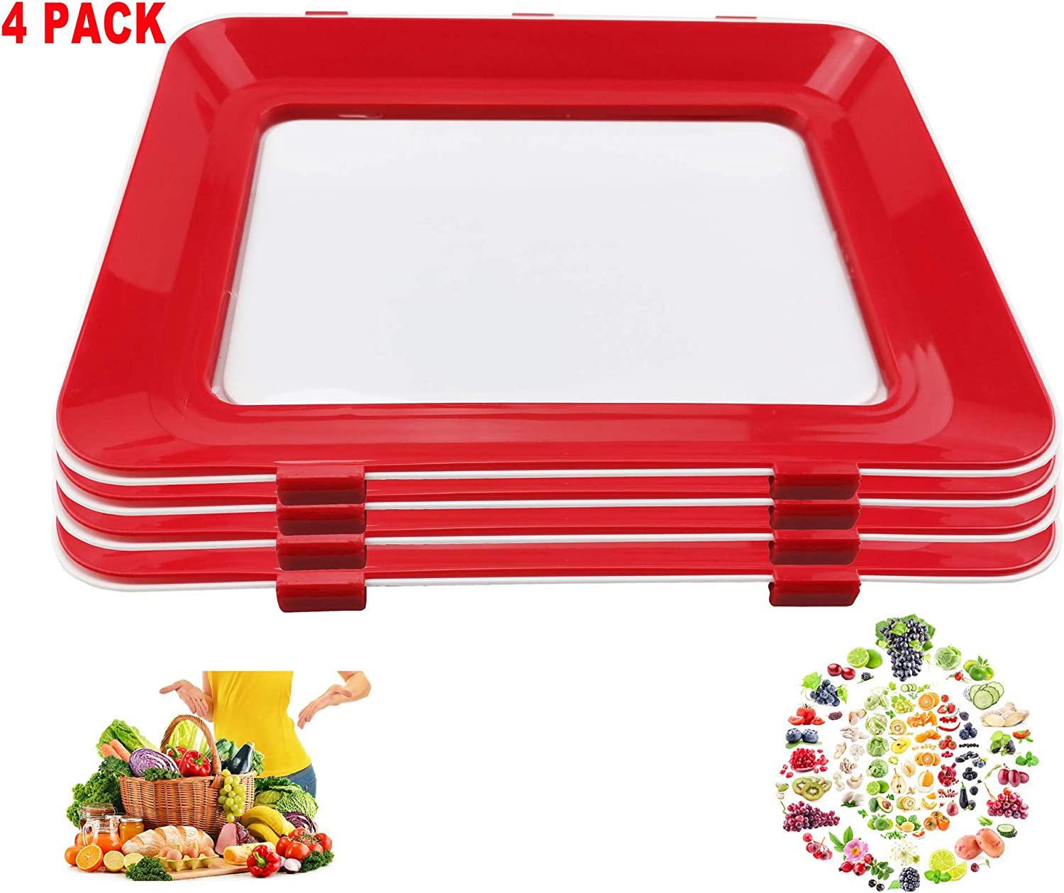 2020 Zero Waste Food Preservation Tray, Reusable Creative Leak proof Healthy Container Tray Set Kitchen Tools Portable Freezer Storage Clever Keep Fruit Vegetable Meat Hot Bacon and Bridge Sticker (4)