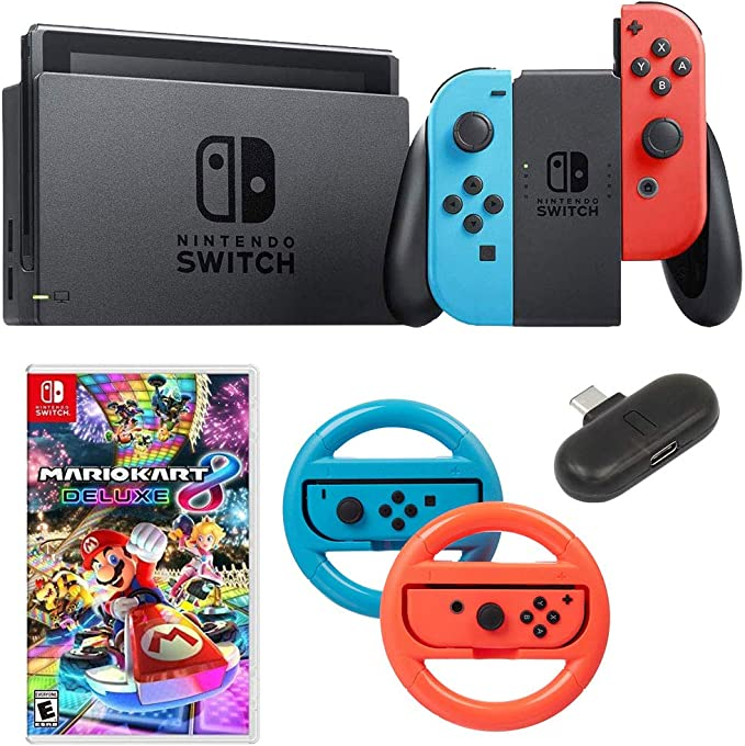 Nintendo Switch 32 GB Consola con Neon Blue & Red Joy-con + Deco Gear Mario Kart 8 Bundle: Amazon.es: Electrónica