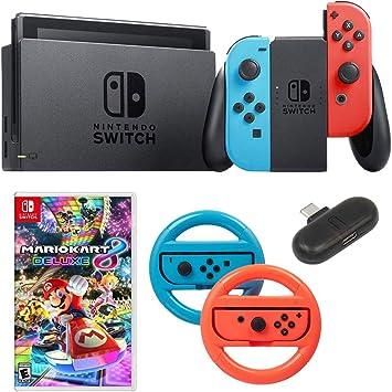 Nintendo Switch 32 GB Consola con Neon Blue & Red Joy-con + Deco Gear Mario Kart 8 Bundle: Amazon.es: Electrónica
