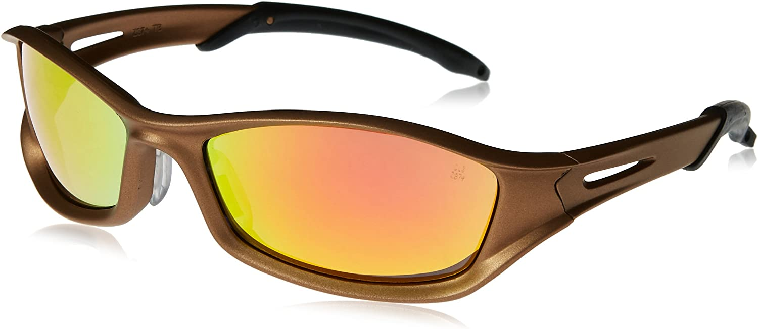 MCR Safety TB13R Tribal Hybrid Temple Design Safety Glasses with Graphite//Red Tattoo Frame and Fire Mirror Anti-Fog Lens