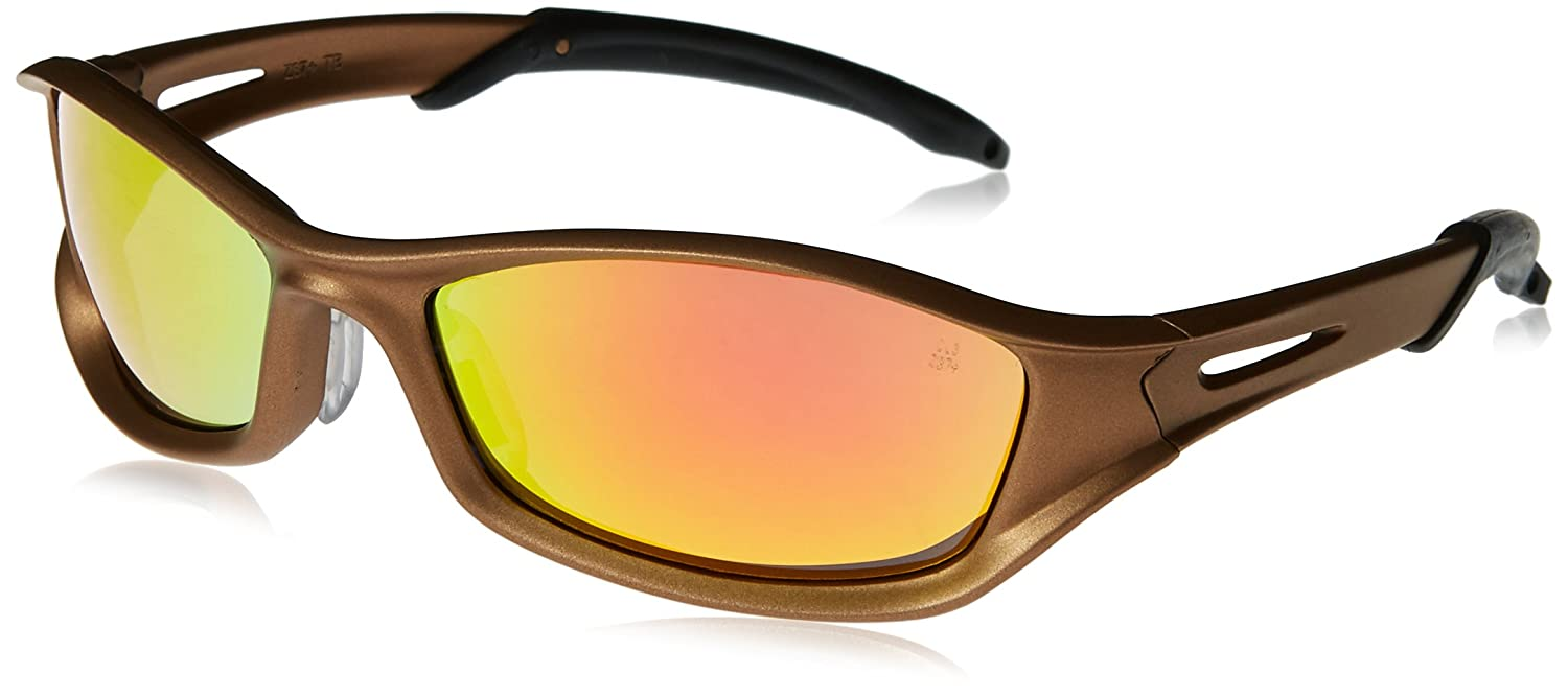 MCR Safety TB12R Tribal Hybrid Temple Design Safety Glasses with Champagne Frame and Fire Mirror Lens sMAdvIK