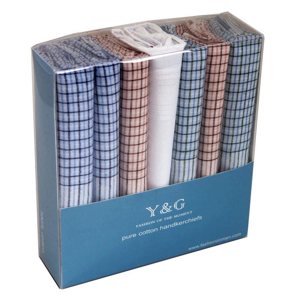 YEC0105 Checkered 7 Piece In Present Box Y&G Mens Cotton Hankies - Green,Orange,Blue,White