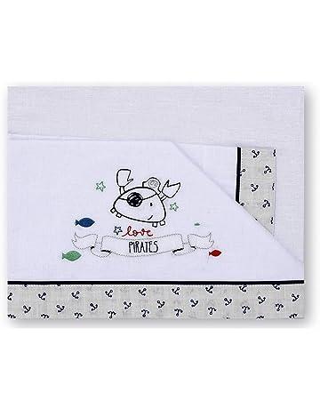 Pirulos 00113320 - Sábanas, diseño pirate, 50 x 80 cm, color blanco y