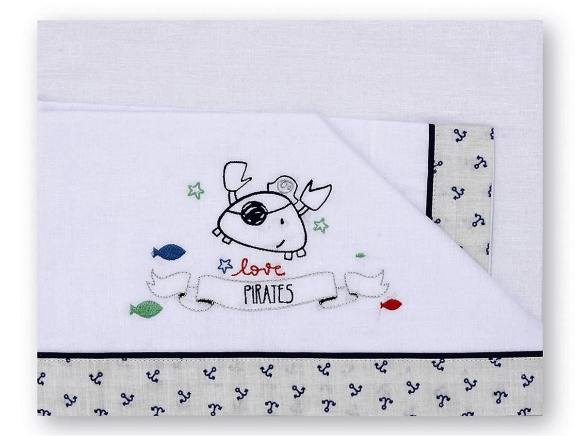 80 x 140 cm dise/ño pirate color blanco y gris Tr/íptico s/ábanas Pirulos 00913320