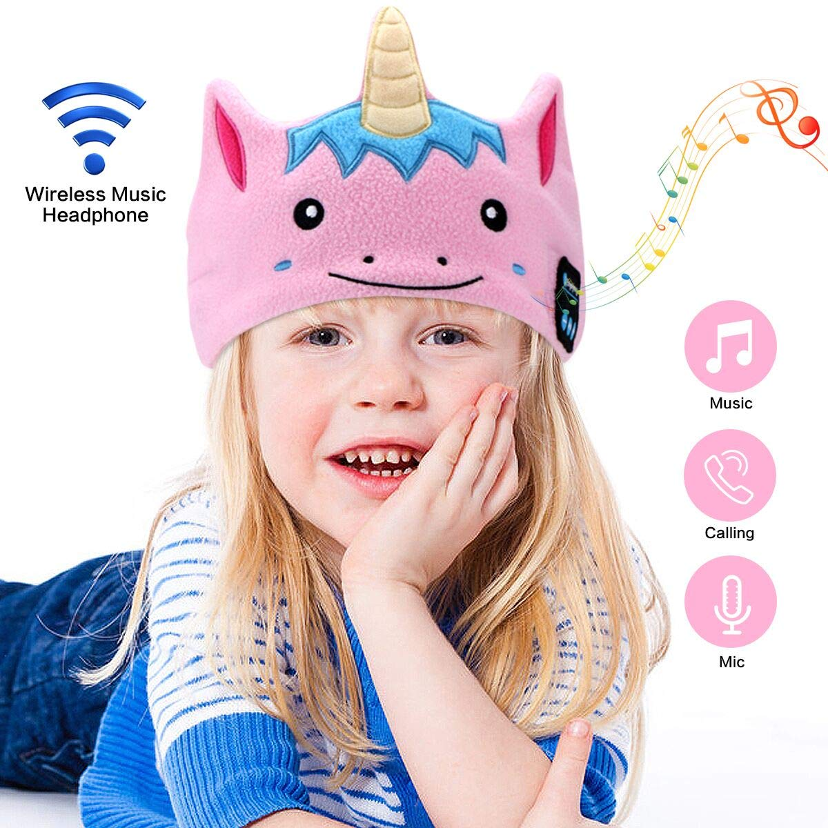Kids Headphones Headbands,WU-MINGLU Soft Fleece Bluetooth Headbands Sleep Headphones wih Ultra-Thin Speakers, Children\'s Earphones for School, Home and Travel, Idea