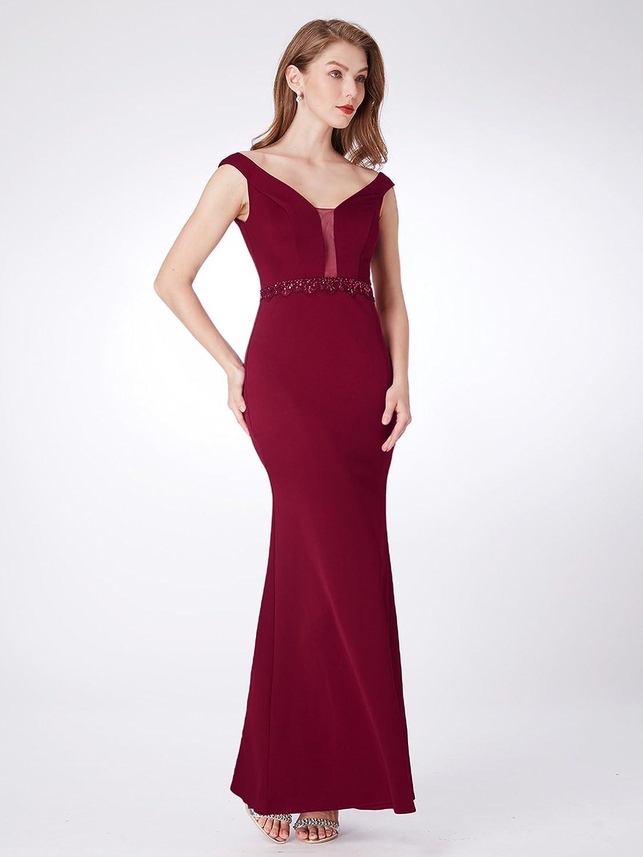 Ever-Pretty Sirena Vestido de Noche Cuello en V Elegant Vestido de Fiesta Largo para Mujer 07272