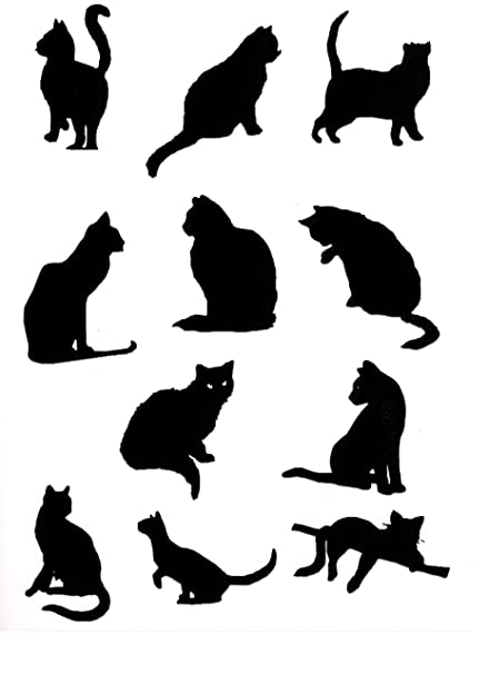 Black cat window stickers