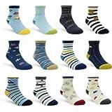 Toddler Socks With Grip Non-Skid 12 Pairs Baby Kids Sticky Slipper Cotton Crew Socks 1-3/3-5/5-7 Years Children/Boy/Girl