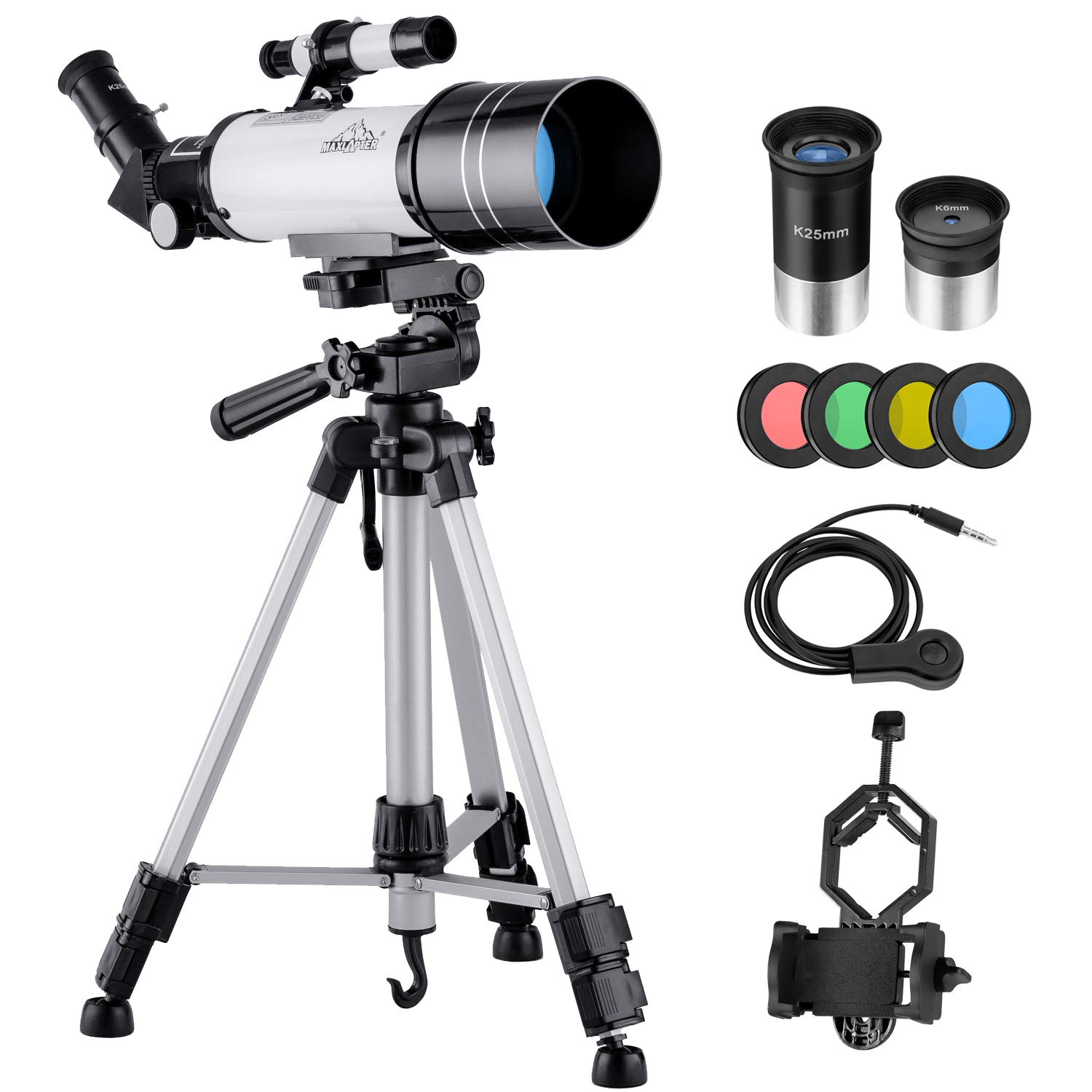 MAXLAPTER Telescope for Kids and Beginners, 70mm Travel Refractor Telescope for Astronomy with Adjustable Tripod, Smartphone Adapter, Camera Shutter Wire Control, Backpack