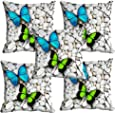 meSleep Colorful Butterfly 3D Cushion Cover (16X16) Set of 5